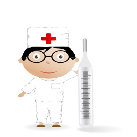 The boy in the medical form with the thermometer on a white background Vector