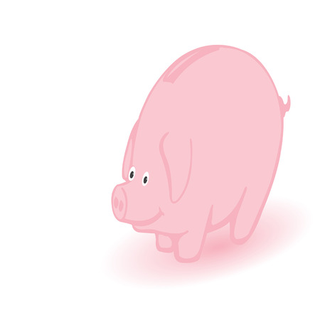 coin box: illustration a coin box a pink pig on a white background