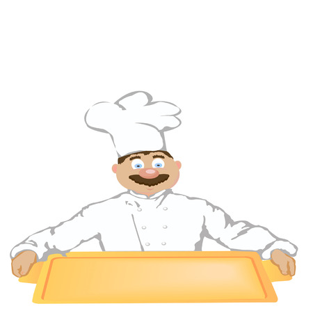 The cheerful Cook a holding gold tray Vector