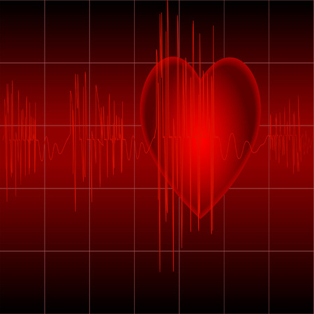 taking pulse: The cardiogram of red color on black background with heart