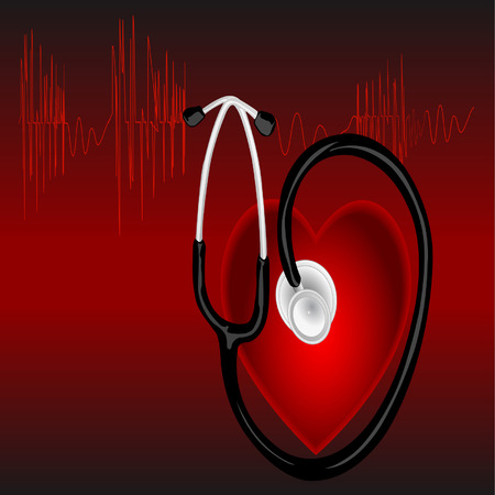 The cardiogram of red color on red background with heart  Vector