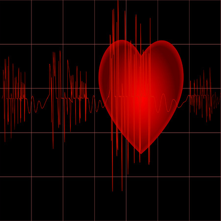 The cardiogram of red color on black background with heart  Vector