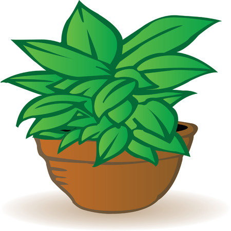 potting soil: illustration a flowerpot with a green flower on a white background