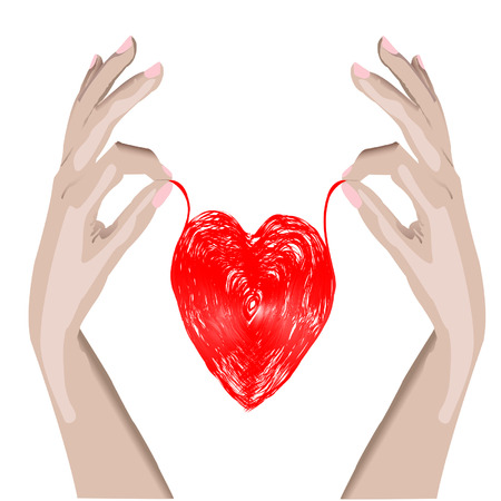 loving hands: illustration red heart, HANDS isolated on white background Illustration