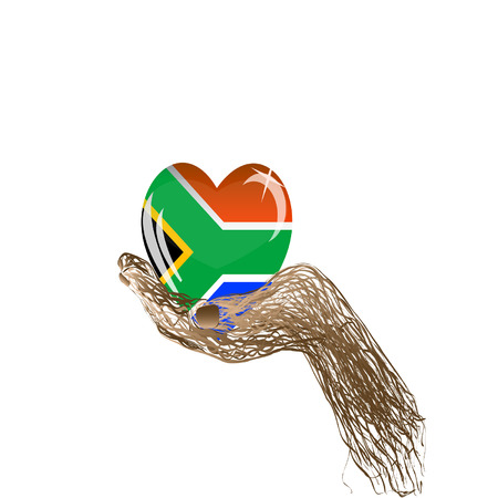 South africa flag on white background and hand