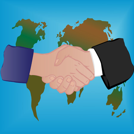 illustration a  globe and hand shake of the man and the woman a white background Vector