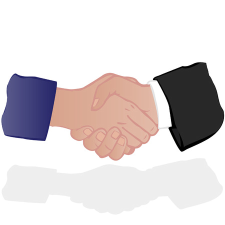 illustration hand shake of partners of the man and the woman on a white background