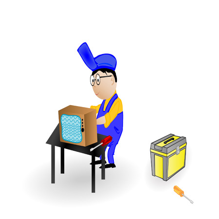 illustration the master the repairing TV Vector
