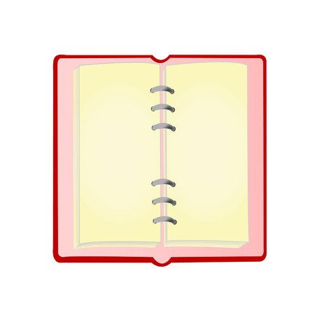 Open notebook of red colour on a white background it is isolated