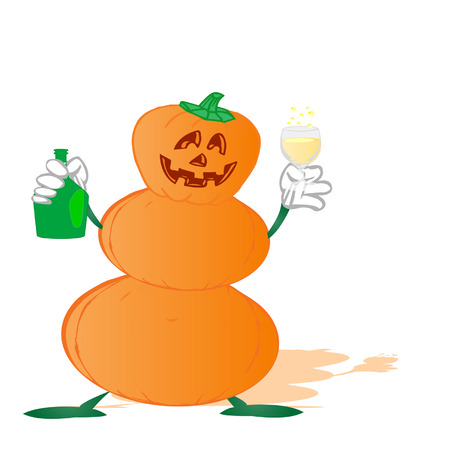 pumpkin by a holiday halloween on a white background  Vector