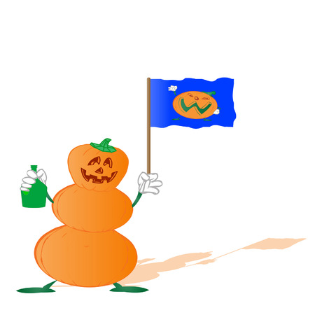 pumpkin by a holiday halloween ,bottle on a white background  Illustration