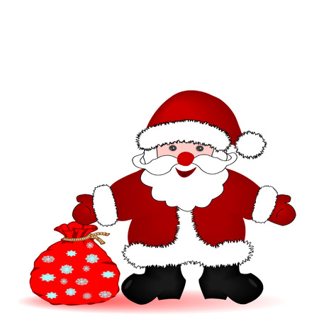 Vector illustration santa claus and a New Year's bag with snowflakes on a white background Stock Vector - 7672767