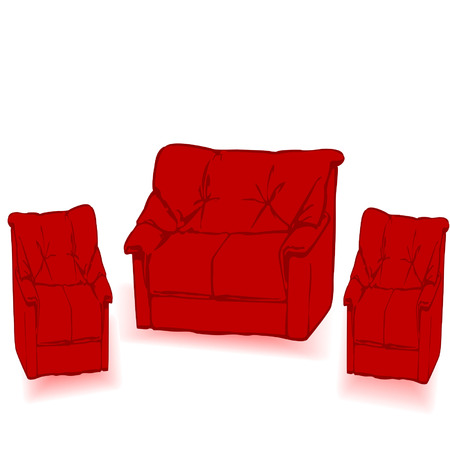 The leather red sofa is isolated on a white background Vector