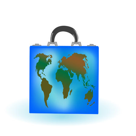 illustration a suitcase with globe on a white background Vector