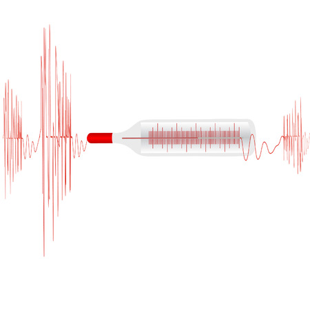 Illustration de la cardiogramme avec le thermomètre médical sur un fond blanc
