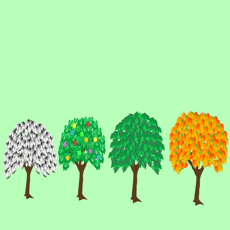 Illustration trees with foliage on white background