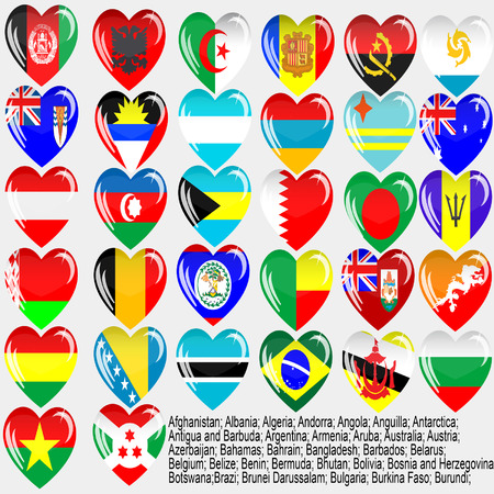 Flags of the countries of the world  Afghanistan; Albania; Algeria; Andorra; Angola; Anguilla; Antarctica; Antigua and Barbuda; Argentina; Armenia; Aruba; Australia; Austria; Azerbaijan; Bahamas; Bahrain; Bangladesh; Barbados; Belarus; Belgium; Belize; Be Stock Vector - 7672804