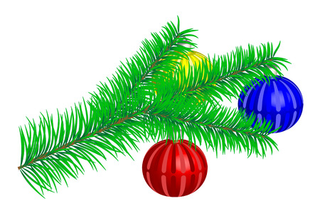 furtree: Illustration of fur-tree branch with multi-coloured spheres