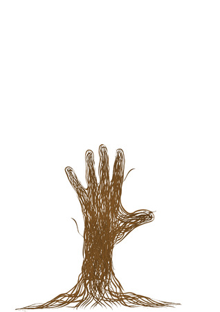 art painting: Hand of the person from brown branches of a rod