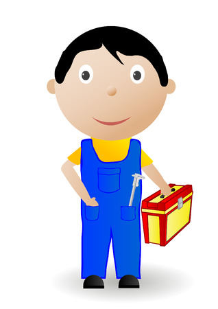 workman: the boy with the tool. Illustration