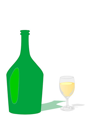 a glass with a drink and a bottle on a white background Vector