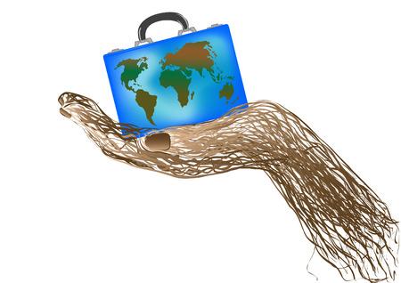 east indian: una maleta con globo en una mano sobre un fondo blanco