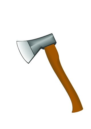 Vector illustration an axe with the wooden handle.