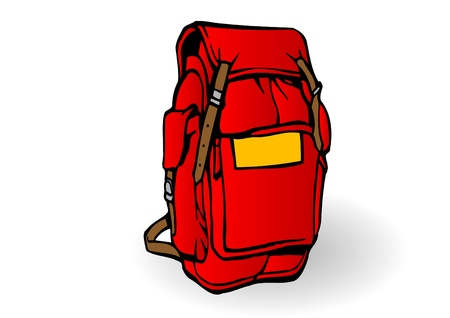 a red tourist backpack