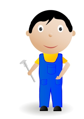 Vector illustration the boy with the tool. Stock Illustration - 8953645