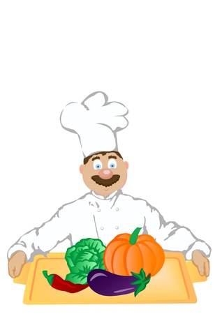 The vector illustration the cheerful cook holds a tray with vegetables. illustration