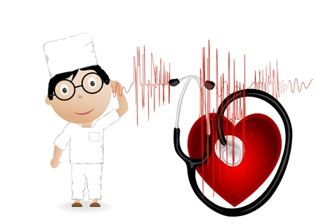 Vector illustration the doctor with the chart, heart and a phonendoscope illustration
