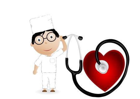 Ilustración vectorial el médico con el gráfico, el corazón y una fonendo Foto de archivo