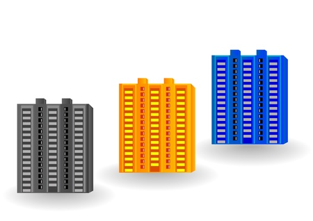 multistorey: Vector illustration multi-storey houses of different color.