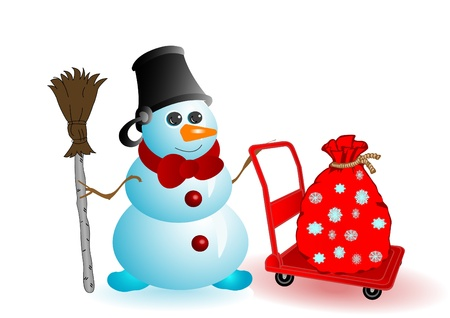 Vector illustration the Christmas snowman with gifts in a sack on a red wheelbarrow Vector