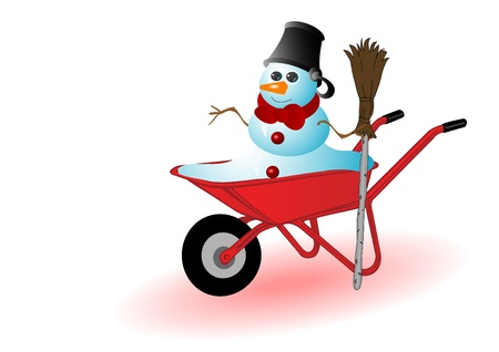 Vector illustration the snowman in a red wheelbarrow. Vector