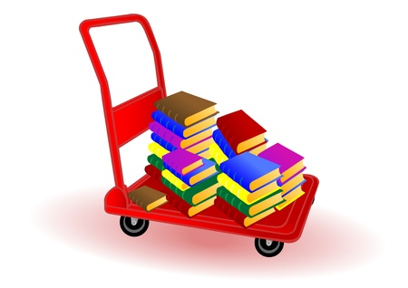 textbook: Vector illustration colored books on a red wheelbarrow.
