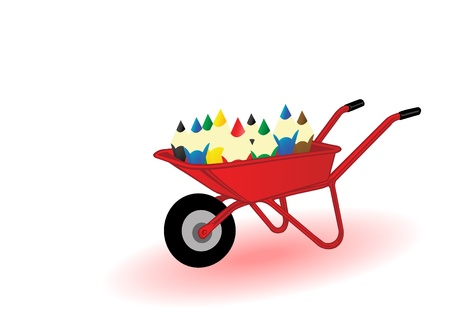Vector illustration colored pensils on a red wheelbarrow.