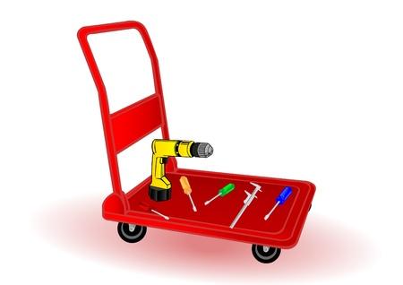 Vector illustration the replacement tool on a wheelbarrow. Stock Vector - 8953633