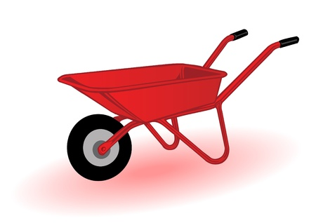 Vector illustration a red wheelbarrow for transportation of cargoes Illustration
