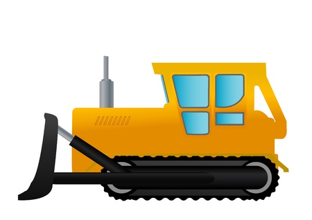 yellow tractor: Vector illustration a yellow tractor on wheels.