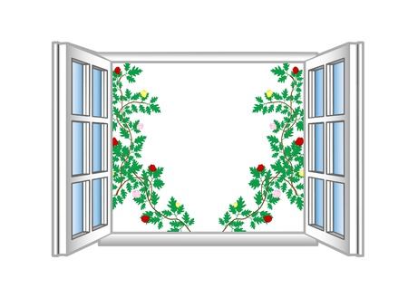 Vector illustration an open window with flower patterns. Stock Illustration - 9019943