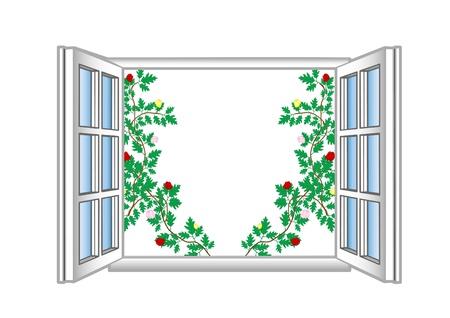 Vector illustration an open window with flower patterns. Stock Illustration - 9019943