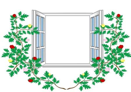 Vector illustration an open window with flower patterns. Stock Illustration - 9019954