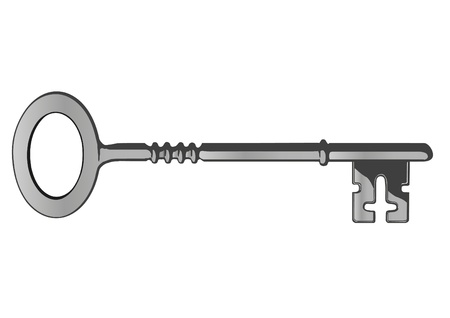 silver ring: Vector a metal key from the lock