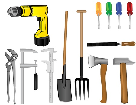 Vector a tooling set a drill an axe a hammer a pitchfork a shovel of a screw-driver a file a clip  Stock Photo