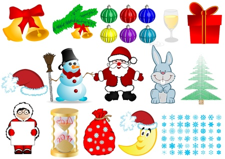 Vector illustration a Christmas set illustration