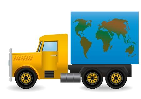Vector illustration the yellow truck. illustration