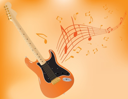 Vector abstract background with patterns, notes and a guitar