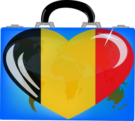 illustration a suitcase with globe and heart germany on a white background  Vector