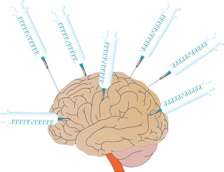 Vector a human brain and medical syringes Vector
